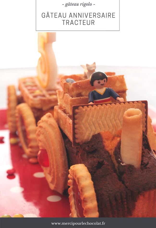 Gâteau rigolo anniversaire tracteur - via mercipourlechocolat.fr