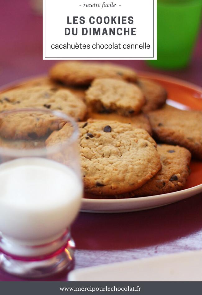 Recette cookies du dimanche (cacahuètes / chocolat / cannelle) - via mercipourlechocolat.fr)