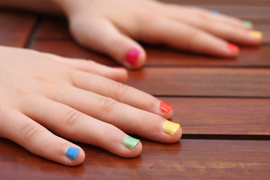 rainbow kids manicure