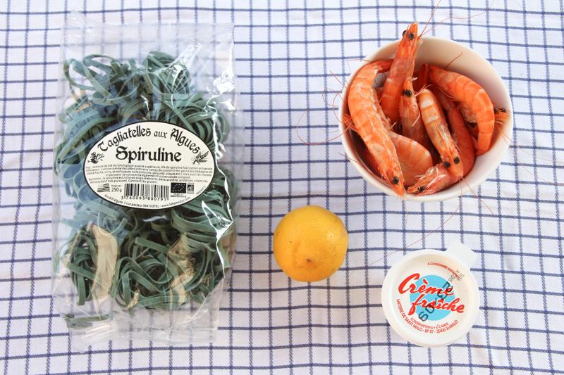 Tagliatelles à la spiruline et aux crevettes (pour la recette, cliquez sur l'image)