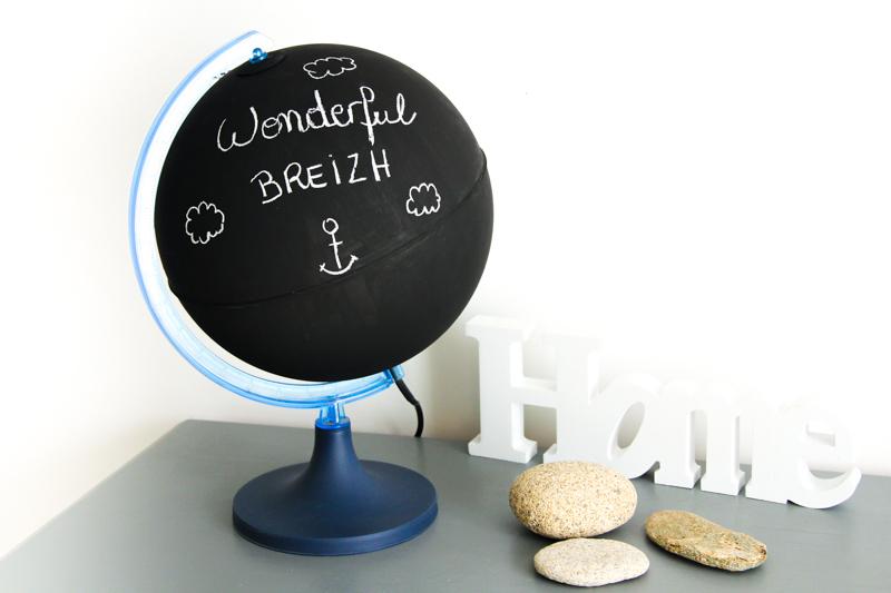 DIY - globe terrestre façon tableau noir / chalkboard globe