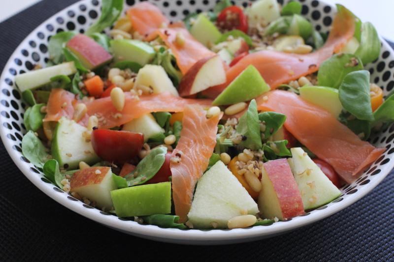 recette salade deux pommes saumon fumé #healthy