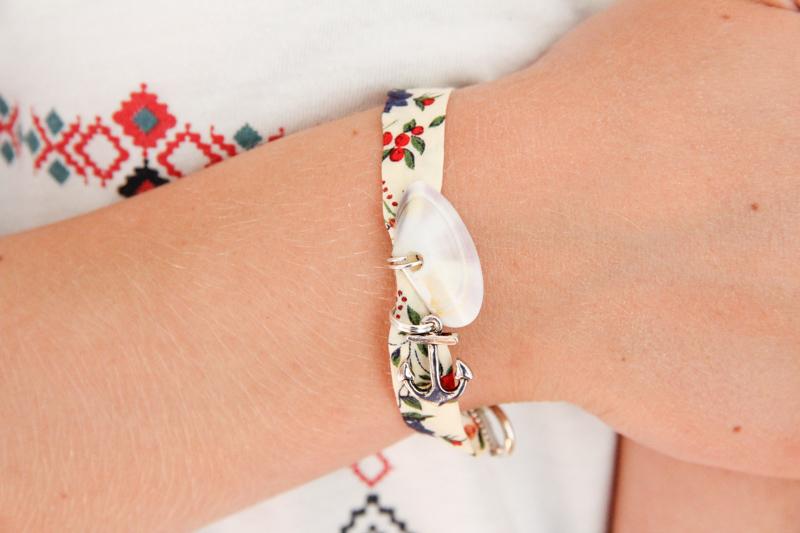 DIY bracelet d'été liberty & coquillage