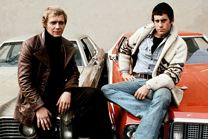 Starsky & Hutch stars David Soul and Paul Michael Glaser ñ with the show's customised red 1975 Ford
