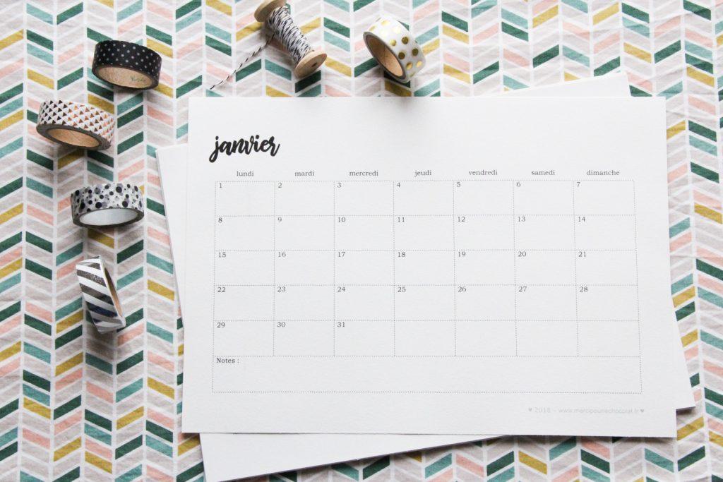 Calendrier 2019 tout simple - à imprimer et à customiser si vous en avez envie ! - mercipourlechocolat.fr