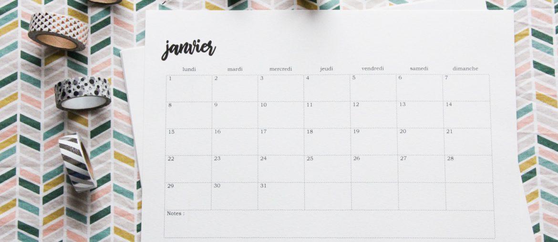 Calendrier 2019 tout simple, à customiser !