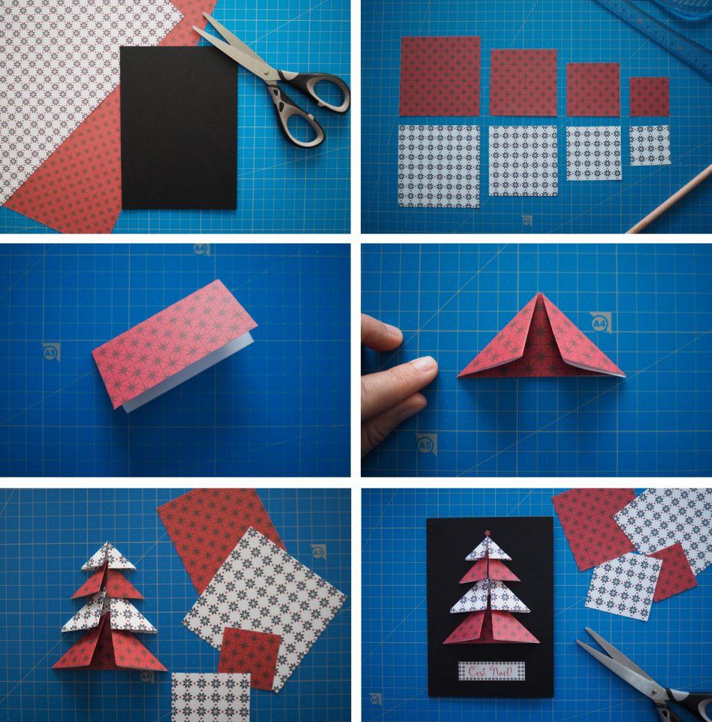 DIY - carte voeux noel sapin 3D fait maison (via mercipourlechocolat.fr)