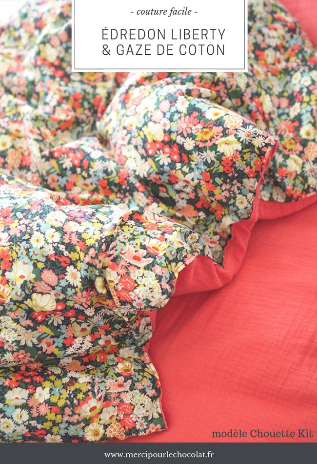 Couture édredon liberty (modèle Chouette Kit)