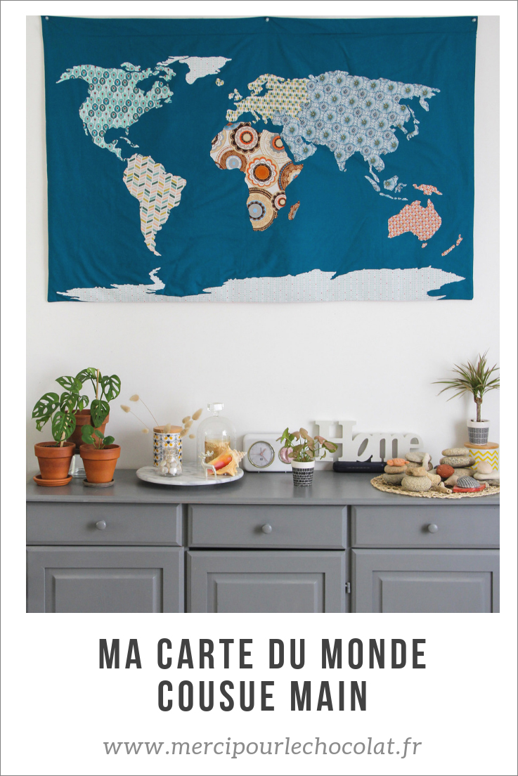 World map - carte du monde en tissu, cousue à la main