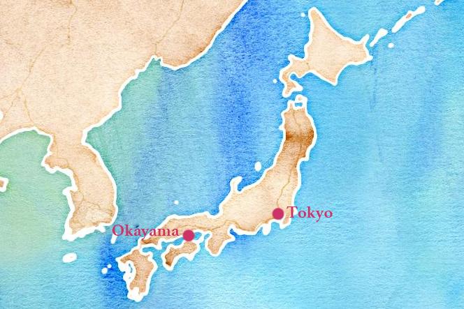 Carte du Japon - OKAYAMA