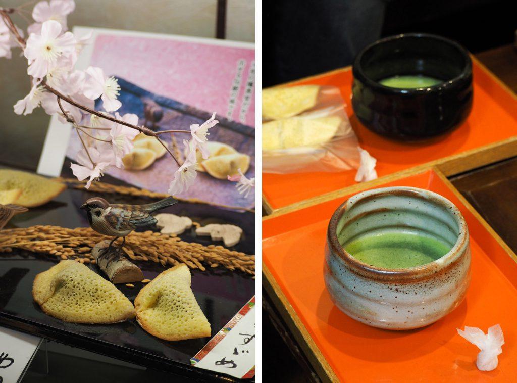 Kurashiki - cérémonie thé matcha & Murasuzume patisserie Kikkodo (Okayama, Japon)