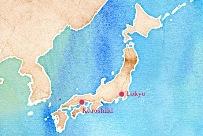 map Japon : Kurashiki, préfecture d'Okayama