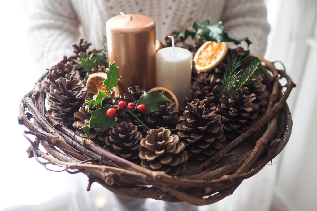 DIY - centre de table nature pour Noël (via mercipourlechocolat.fr)