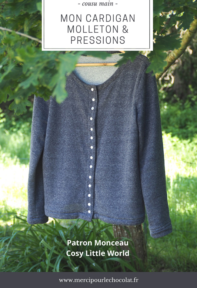 Couture - gilet Monceau / cardigan molleton boutons pressions (via mercipourlechocolat.fr)