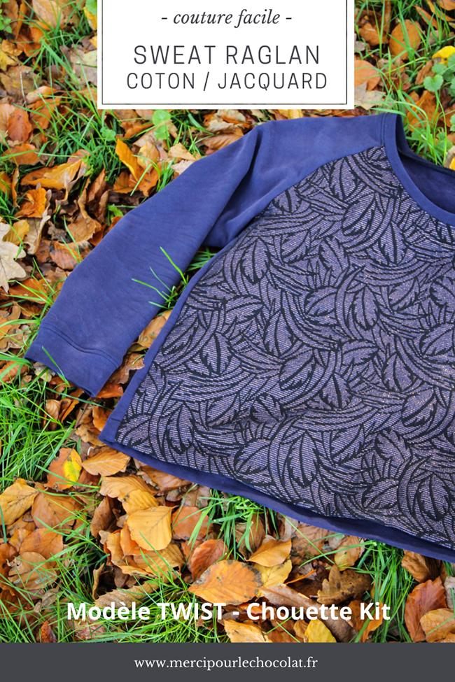 Couture facile - sweat Twist en coton bio et jacquard français Chouette Kit (via mercipourlechocolat.fr)