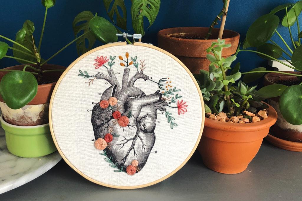 Coeur battant - broderie Ginacie