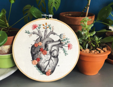 Coeur battant - broderie Ginacie