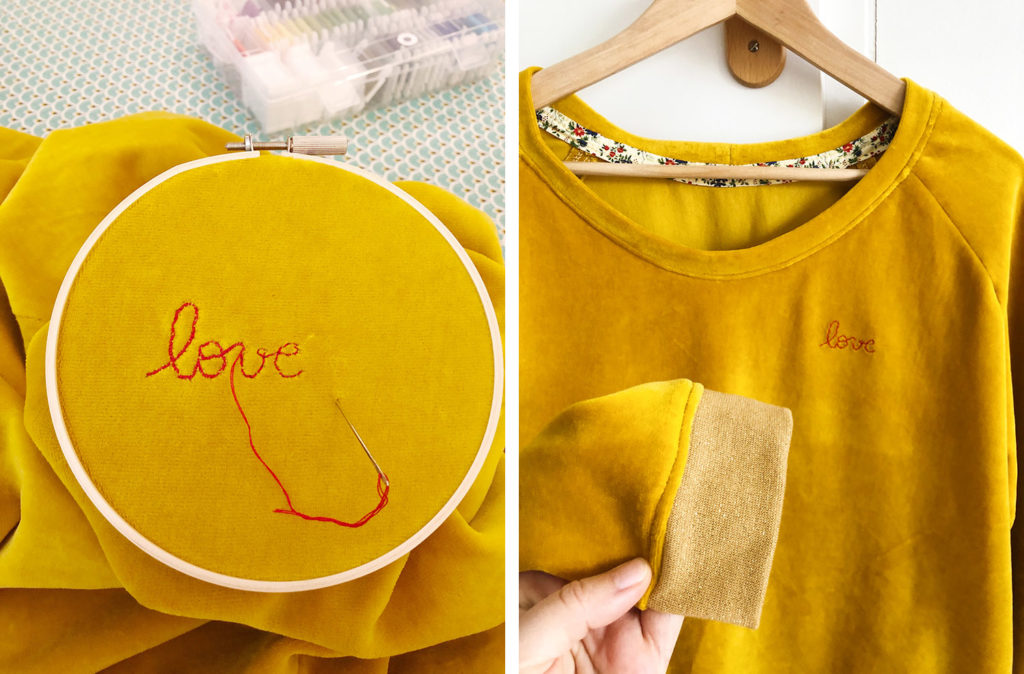 Couture - sweat Sweet Love en velours bio cousu main (patron Chouette Kit - via mercipourlechocolat.fr)