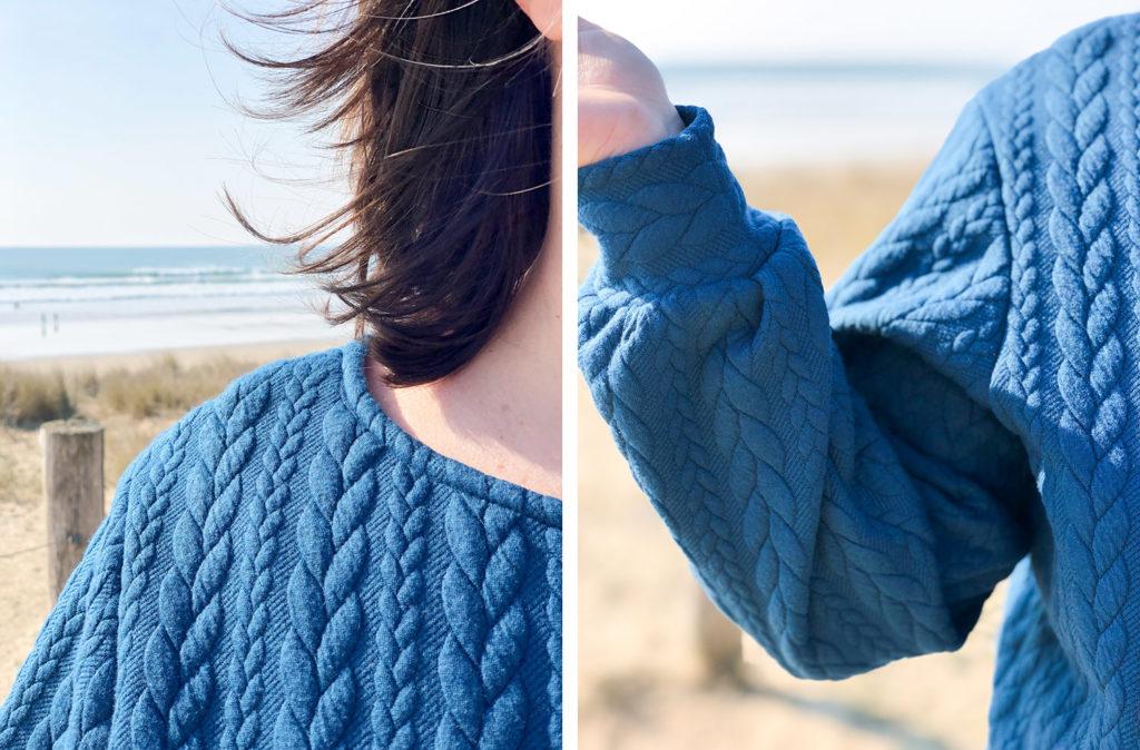 Couture - sweat Alice Fibremood en maille torsadée - col V devant ou derrière (via mercipourlechocolat.fr)