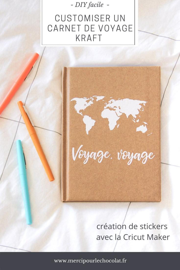 DIY - customiser un carnet de voyage en kraft avec Cricut - sticker mappemonde worldmap